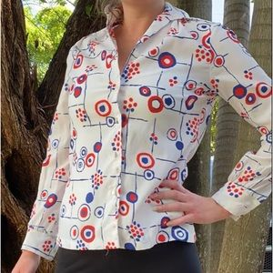 Vintage Red white & blue wing collared button down